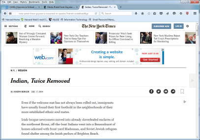 NYtimes Indian twice removed